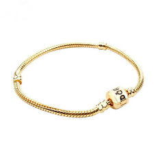 Fashion Snake Chain Gold Plated Bracelets Fit European Beads 19cm