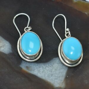 Sleeping Beauty Turquoise Earring 92.5 Sterling Silver Woman earring 1.55""