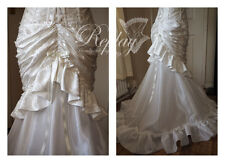 Handmade Wedding Ivory Skirt Victorian Steampunk Bustle Dress Bridal Fishtail