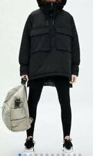 Zara Black Recylced Capule Jacket Coat Anorak Parka Limited Edition Rare S/M Ski
