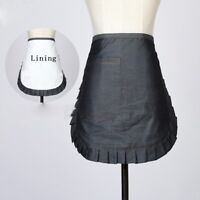Ladies Denim Ruffle Pockets Half Apron Maid Waitress Florist Chef Cafe Workwear