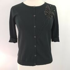 CARDUCCI Sweater Small Womens Cardigan Black Butterfly Sequins Beads 3/4 Sleeves