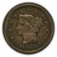 1854 1c Braided Hair Large Cent SKU-Y2856