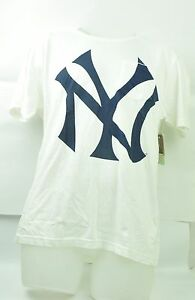 MLB Red Jacket New York Yankees Mens Tshirt White Crew Neck Tee Short Sleeve