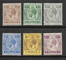 MALTA  1914-21     KGV  PART SET TO 6d   MLH