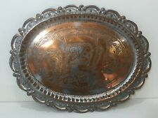 """Vintage Middle East Silver on Copper Hand Carved Oval Tray, 16 1/2"""" x 12 5/8"""""""