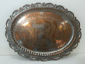 "Vintage Middle East Silver on Copper Hand Carved Oval Tray, 16 1/2"" x 12 5/8"""