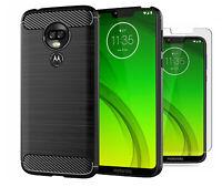 For Motorola Moto G7 Power Case Carbon Fibre Cover & Glass Screen Protector