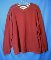 ROUNDTREE & YORKE Long-Sleeve T-Shirt DARK RED Med-Weight THERMAL KNIT sz XL