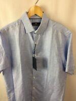 Hart Schaffner Marx Shirt Mens Size Large 52% Linen Periwinkle Blue A28