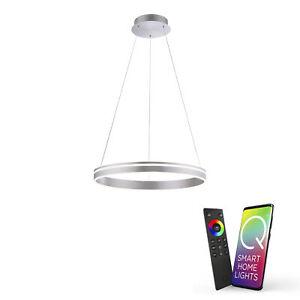 Paul Neuhaus Q-VITO, LED-Pendelleuchte, Ø 59cm, rund, Smart Home, silbermatt