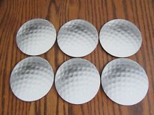 Set Of 6 Pimpernel 4-Inch Round Cork-Backed Melamine Golf Ball Coasters, Boxed