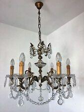 6 fl. Große antike Französisch Lampe Alt Messing brünier Decken Lüste Ø60 cm