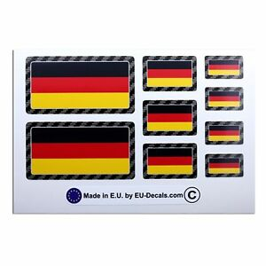 9X Germany flags Carbon fiber outline Laminated Decals Stickers for vw bmw