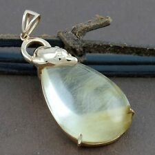 Genuine 18CT RG Golden Rutilated Quartz Dolphin Bail Pendant