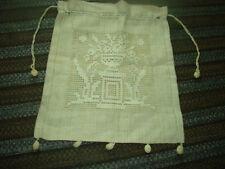 """Vintage Purse Linen Filet Lace Pouch Drawstring 12"""" Tassel Dangle"""