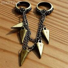 UK NEW VINTAGE DOUBLE RING CHAIN RIVETS SPIKE GOTHIC PUNK ALCHEMY EMO ROCK SPIKY