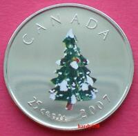 🎄 2007 25 cents Christmas Tree colorized - Brilliant Unc