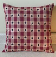 1 Americana star primitive pillow covers shams burgundy blue homespun 16x16