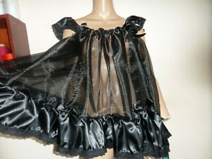 BLACK ORGANZA SATIN  ADULT BABY DOLL SISSY NIGHTIE + PANTIES SIZE LARGE FRILLY