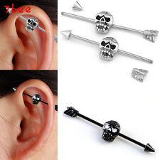 1p Skull Stainless Steel Long Industrial Barbell Earring Cartilage Body Piercing
