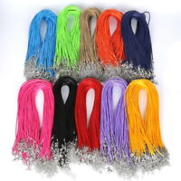 10Pcs Real Leather Chains Necklace Charms Findings String Cord 1.5mm 19 Colors