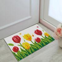 Flower Latch Hook Rug Kits DIY Carpet Cushion Mat Embroidery Kits 58x40cm