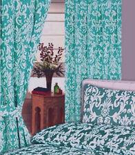 "66 ""x 72"" Jade Verde Damasco Floral Blanco Cortinas PLISADAS ALARGADAS POLY algodón"