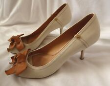 c6ecd69529b Miu Miu Women Size 38 Cream Canvas Leather Bow 3