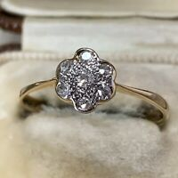 Antique Diamond 18ct Yellow Gold Platinum Daisy Cluster Style Ring Band UK M 1/4