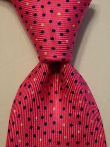 PAOLO ALBIZZATI Men's Silk Necktie ITALY Designer POLKA DOT Pink/Blue/White Rare