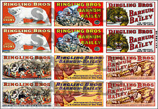 NEW PEEL AND STICK HO SCALE RINGLING BROS CIRCUS BUILDING SIGN DECALS HOBBC100