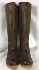 Johnston & Murphy,Brown Leather, Rubber Wedged,Zipper Front,Women's Tall Boots