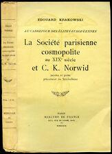 E. Krakowski: LA SOCIETE PARISIENNE COSMOPOLITE AU XIX° SIECLE ET CIPRIAN NORWID