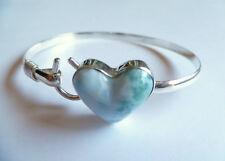 Sterling Silver Caribbean Hook Heart Larimar Bangle Bracelet