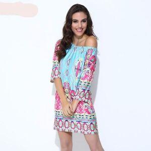 Womens summer dress Off Shoulder Jumper Dress Ladies Party Bodycon Mini Dress UK