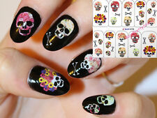 Nail Art Water Transfer Decals Stickers Skull Halloween Flower Manicure Tips DIY