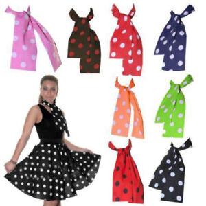 Ladies Women Polka Dot 50's Grease Style Neck Tie Scarf