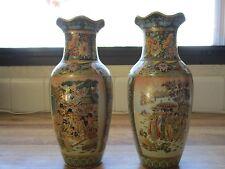 Vintage Pair (2) Of Ornate Royal Satsuma Moriage Vases ~Damage Free~