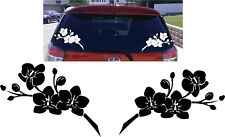 2 x Large Orchid Flower Vinyl Car Stickers Girly Graphic Decals