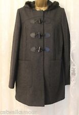 ASOS Wool Rich Faux Fur Hooded Duffle Toggle Popper Grey Winter Coat  14 42 New