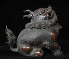 Marked Chinese Palace Old Bronze Foo Dog Lion PiXiu Statue Incense Burner Censer