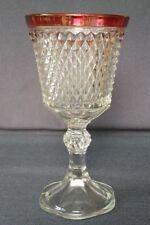 "Vintage RUBY Red FLASH Rim 11"" Diamond Point Large Vase/Ice Holder"