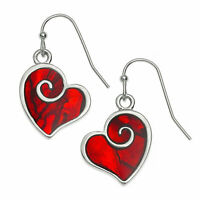 Red Heart Earrings Abalone Paua Shell Womens Silver Fashion Jewellery 25mm Drop
