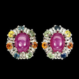 Oval Red Ruby 8x6mm Sapphire 14K White Gold Plate 925 Sterling Silver Earrings