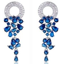 White Gold Plated Faux Sapphire Blue Crystal Drop Dangle Earrings UK Gift Boxed