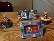 Baby Keepsakes Blue Jean Teddy Frames, First Tooth & First Curl Baby Gift Set
