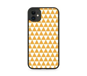 Orange Geometric Chequered Rubber Phone Case Shapes Funky Pattern Cover G544