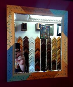 BEVELED MIRROR IN VINTAGE 1960s HANDMADE FLORAL FRAME FROM HIGH-END GALLERY
