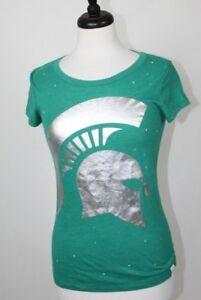 Victoria's Secret PINK Collegiate MSU State Michigan Green Spartan T-Shirt Top S